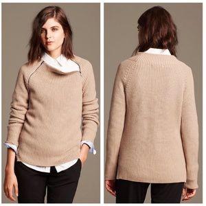 BANANA REPUBLIC Textured Zip-Neck Tan Pullover XS